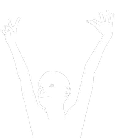 The contour of a happy girl with raised hands. The contour of the girl from black lines isolated on a white background. Vector illustration