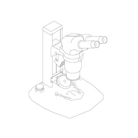 Microscope outline from black lines isolated on white background. Isometric view. Vector illustration