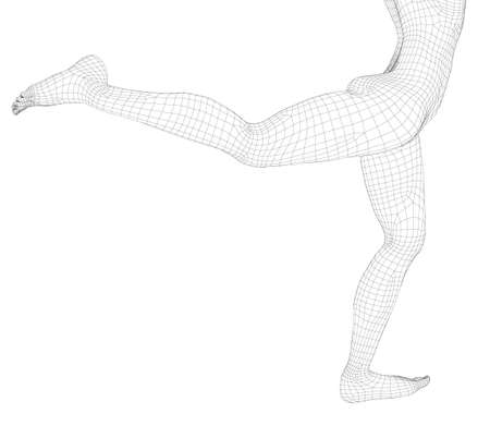 Wireframe of a girl with a high leg. 3D. Vector illustration