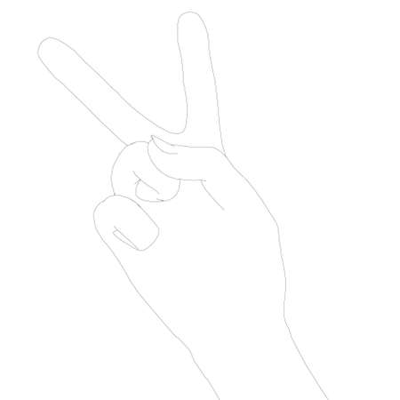 The contour of the human hand shows two fingers. A symbol of peace. Vector illustration