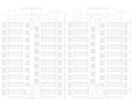 The outline of a multi-storey residential building. Front view. Vector illustration