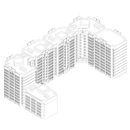 The outline of a multi-storey residential building. Isometric view. 3D. Vector illustration