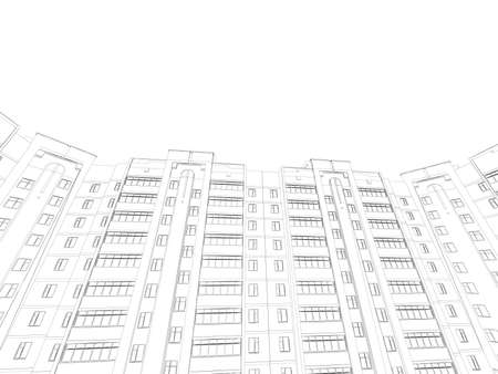 The outline of a multi-storey residential building. Bottom view. 3D. Vector illustration