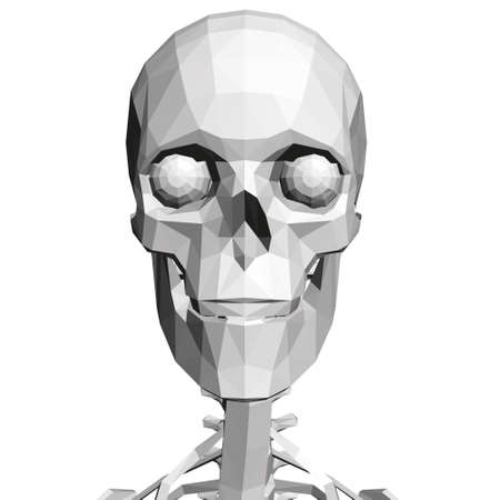 Low poly skull with human spine. Front view. 3D. Vector illustration