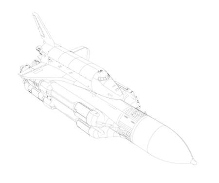 Rocket outline with spaceship from black lines isolated on white background. Isometric view. Vector illustration Иллюстрация