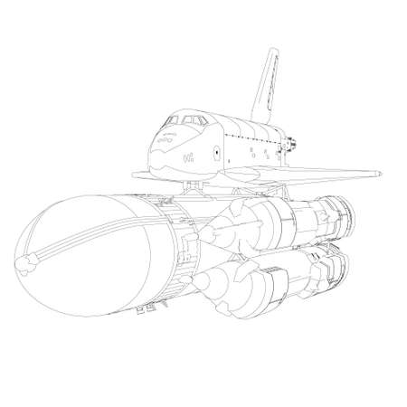 Rocket outline with spaceship from black lines isolated on white background. Front view. Vector illustration