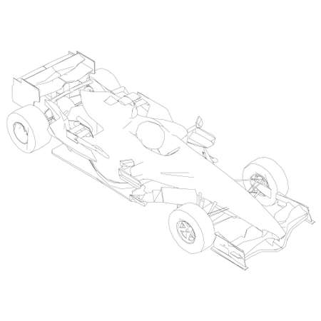 Contour of a racing car from black lines on a white background. Isometric view. Vector illustration