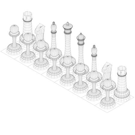 Wireframe of chess pieces lined up in a row. Isometric view. 3D. Vector illustration
