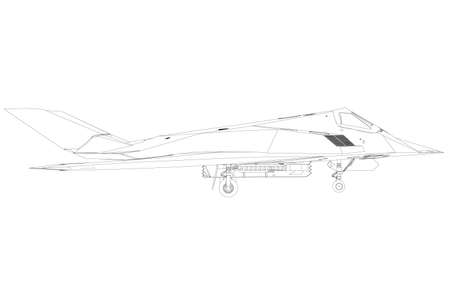 Contour of a modern fighter jet from black lines on a white background. Side view. Vector illustration Stock Illustratie