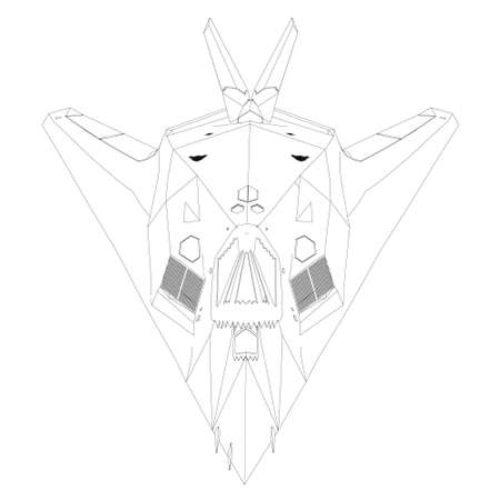 Contour of a modern fighter jet from black lines on a white background. Front view. Vector illustration