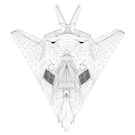 Wireframe of a modern fighter jet from black lines on a white background. Front view. 3D. Vector illustration