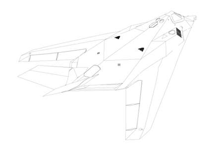 Contour of a modern fighter jet from black lines on a white background. Back view. Vector illustration Stock Illustratie