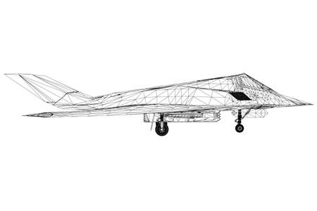 Wireframe of a modern fighter jet from black lines on a white background. Side view. 3D. Vector illustration