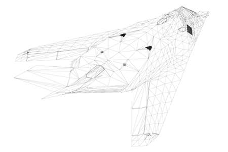 Wireframe of a modern fighter jet from black lines on a white background. Back view. 3D. Vector illustration