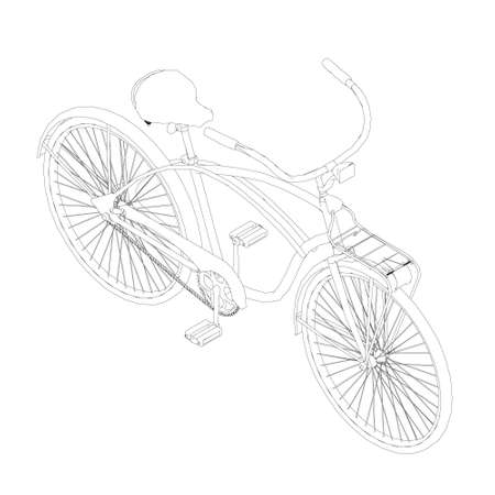 Contour of a bicycle with a semicircular handlebar made of black lines on a white background. Isometric view. Vector illustration Stock Illustratie