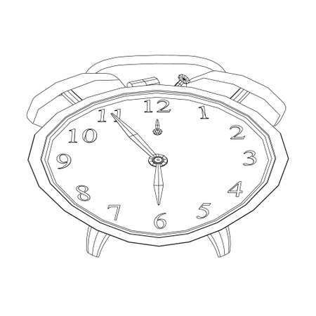 Contour of a table clock with an alarm clock in a twisted shape from black lines on a white background. Vector illustration Stock Illustratie
