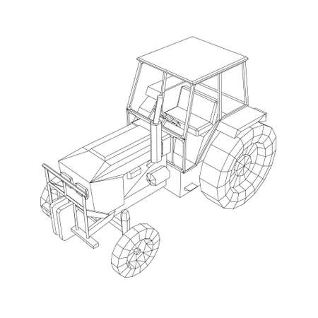 Tractor contour from black lines on a white background. Isometric view. Vector illustration Stock Illustratie