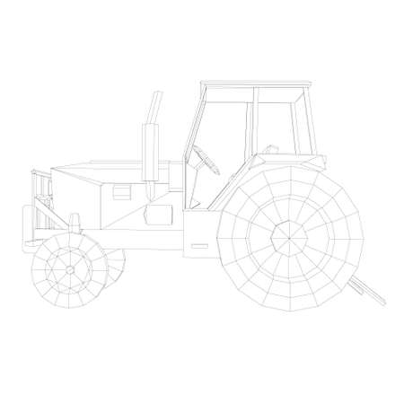 Tractor contour from black lines on a white background. Side view. Vector illustration Stock Illustratie