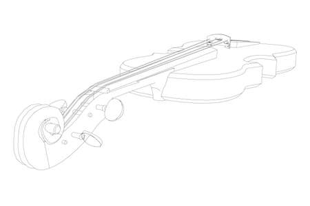 Violin contour from black lines on a white background. Perspective view. Vector illustration Stock Illustratie