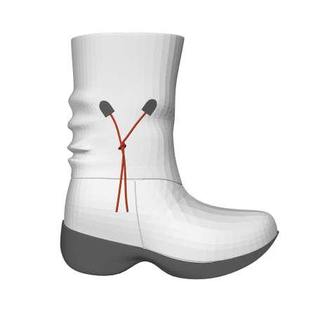 Model of a polygonal white female boot. Side view. 3D. Vector illustration Stock Illustratie