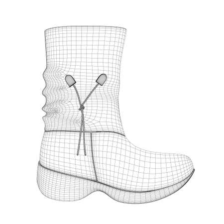 Wireframe of a polygonal female boot made of black lines, isolated on a white background. Side view. 3D. Vector illustration