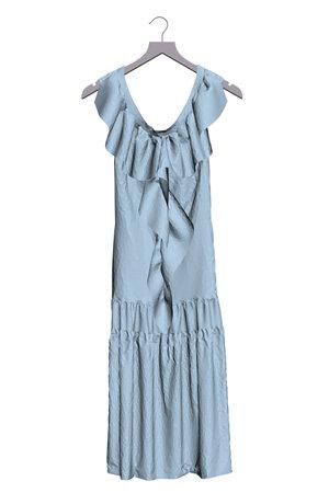 The blue dress is hanging on a hanger. 3D. Vector illustration Stock Illustratie