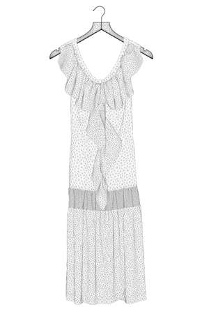 Wireframe of the dress model hangs on a hanger made of black lines on a white background. 3D. Vector illustration