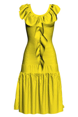 Model of a polygonal yellow dress. 3D. Vector illustration