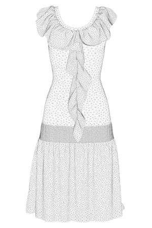 Wireframe model of dress Isolated on white background. 3D. Vector illustration