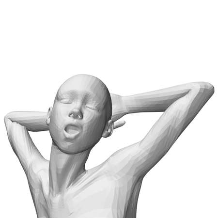 Polygonal girl model with hands behind her head, closed eyes and open mouth. 3D. Vector illustration