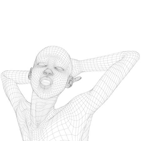 Wireframe of a female model with hands behind her head, closed eyes and open mouth. 3D. Vector illustration Stock Illustratie