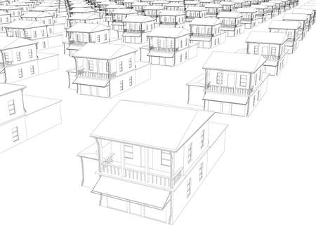 The outline of many identical houses in a row. 3D. Vector illustration