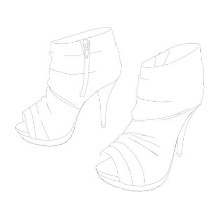 High-heeled shoes contour. Womens shoes isolated on white background. Vector illustration