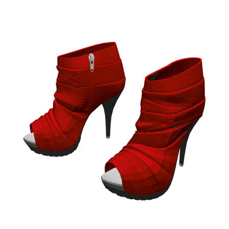 Red high-heeled shoes. Womens shoes isolated on white background. 3D. Vector illustration