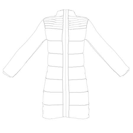 Outline of a jacket worn on a mannequin isolated on a white background. Front view. Vector illustration
