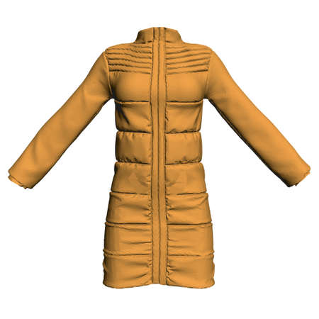Yellow jacket dressed on a mannequin isolated on white background. 3D. Front view. Vector illustration