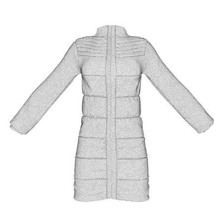 Jacket wireframe worn on a mannequin isolated on white background. 3D. Front view. Vector illustration