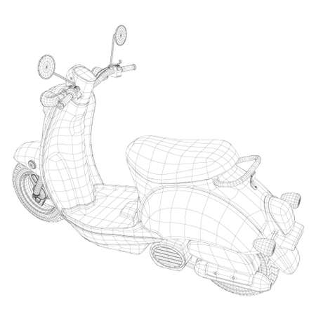 Polygonal wireframe of a motor scooter isolated on a white background. 3D. Perspective view. Vector illustration