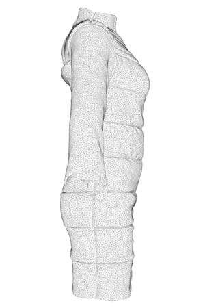 Jacket wireframe worn on a mannequin isolated on white background. 3D. Side view. Vector illustration