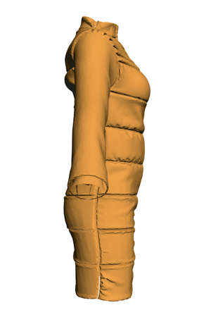 Yellow jacket dressed on a mannequin isolated on white background. 3D. Side view. Vector illustration Stock Illustratie