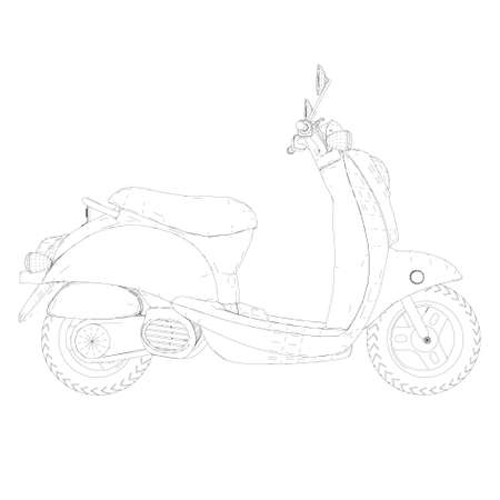 Motor scooter contour isolated on white background. Side view. Vector illustration Stock Illustratie