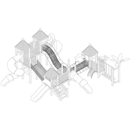 The outline of a large playground with various slides. Isometric view. Vector illustration