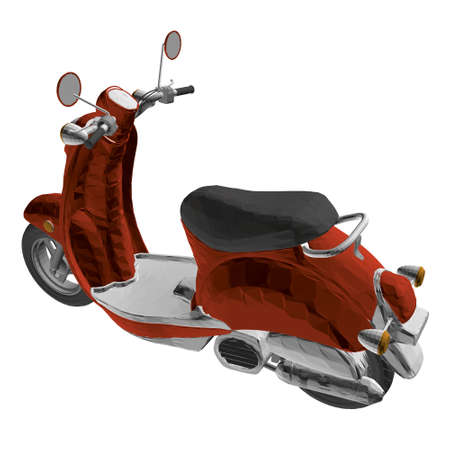 Polygonal red motor scooter isolated on white background. 3D. Vector illustration