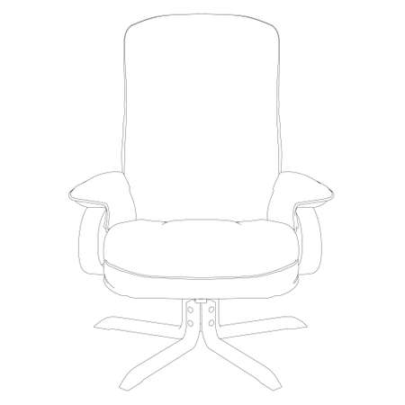 Contour of an armchair from black lines isolated on a white background. Front view. Vector illustration