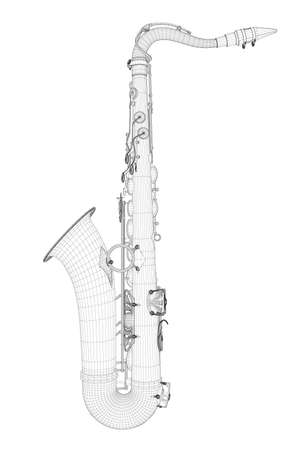 Wire-frame detailed saxophone isolated on white background. Side view. 3D. Vector illustration Stock Illustratie