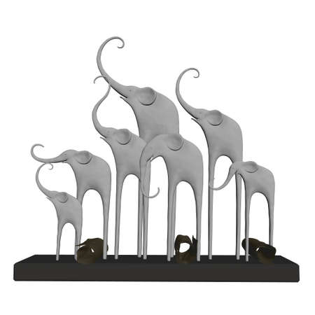 Statuette with elephants with raised trunks isolated on white background. 3D. Vector illustration Stock Illustratie