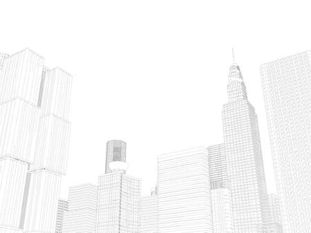 Contour of skyscrapers from black lines isolated on white background. 3D. Vector illustration