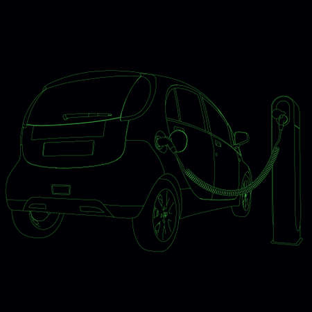 The circuit of an electric car on a charge. Back view. Contour of the car from green lines on a dark background. Vector illustration Stock Illustratie