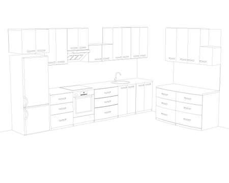 Contour of the kitchen with cooking utensils. Kitchen interier. Vector illustration Stock Illustratie