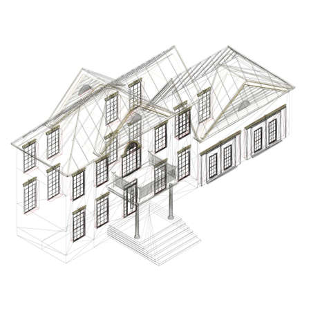 The outline of the house is two-story. Isometric view. 3D. Vector illustration
